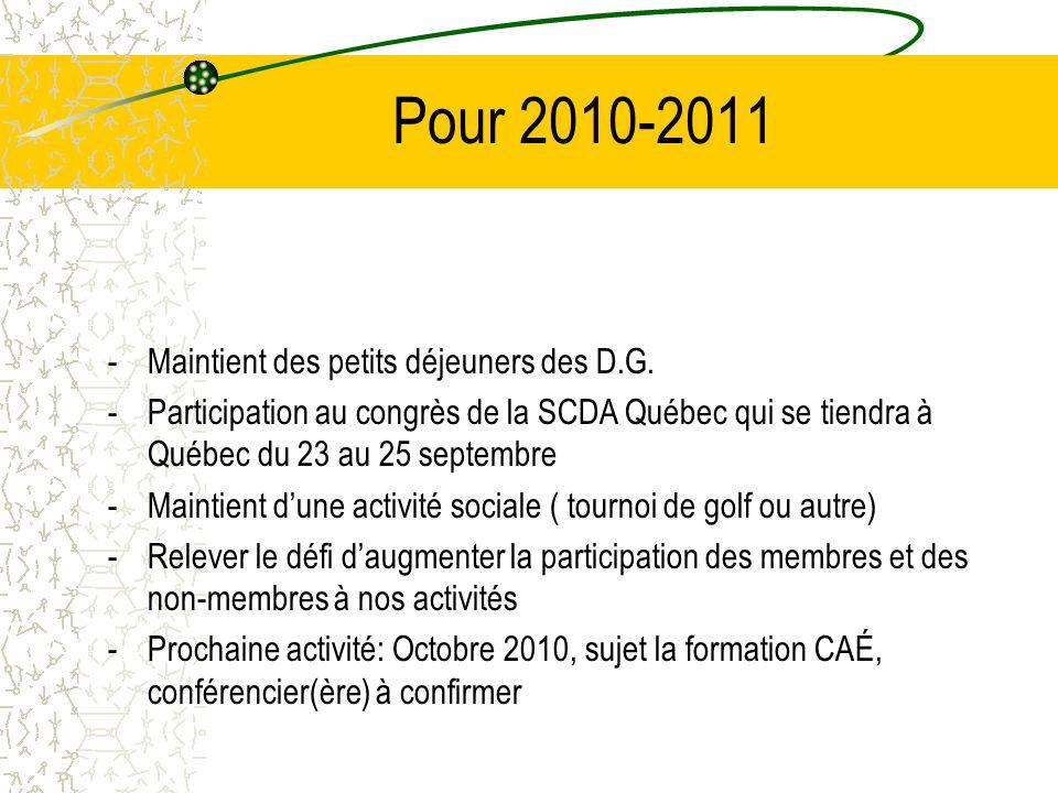 Pour 2010-2011 Maintient des petits déjeuners des D.G.