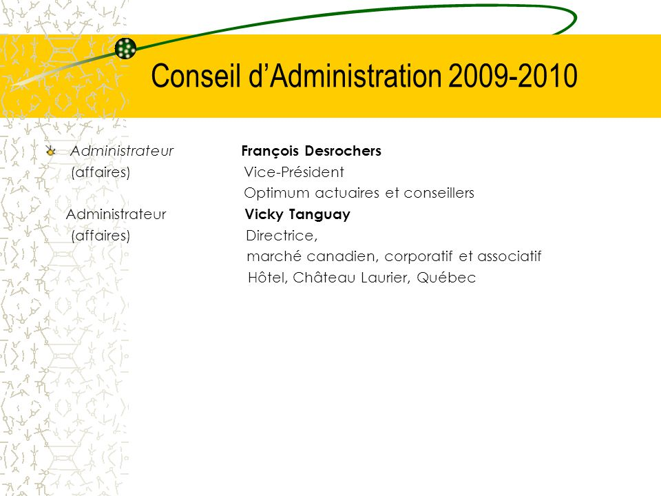 Conseil d'Administration 2009-2010