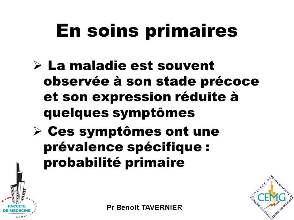 En soins primaires La maladie est souvent observée à son stade précoce et son expression réduite à quelques symptômes.
