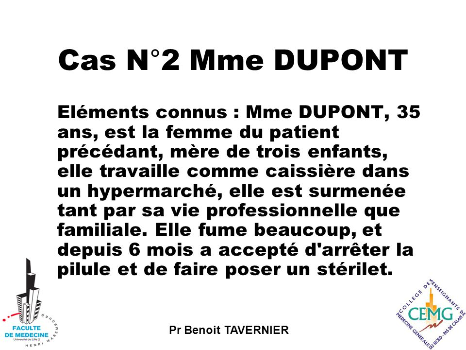 Cas N°2 Mme DUPONT