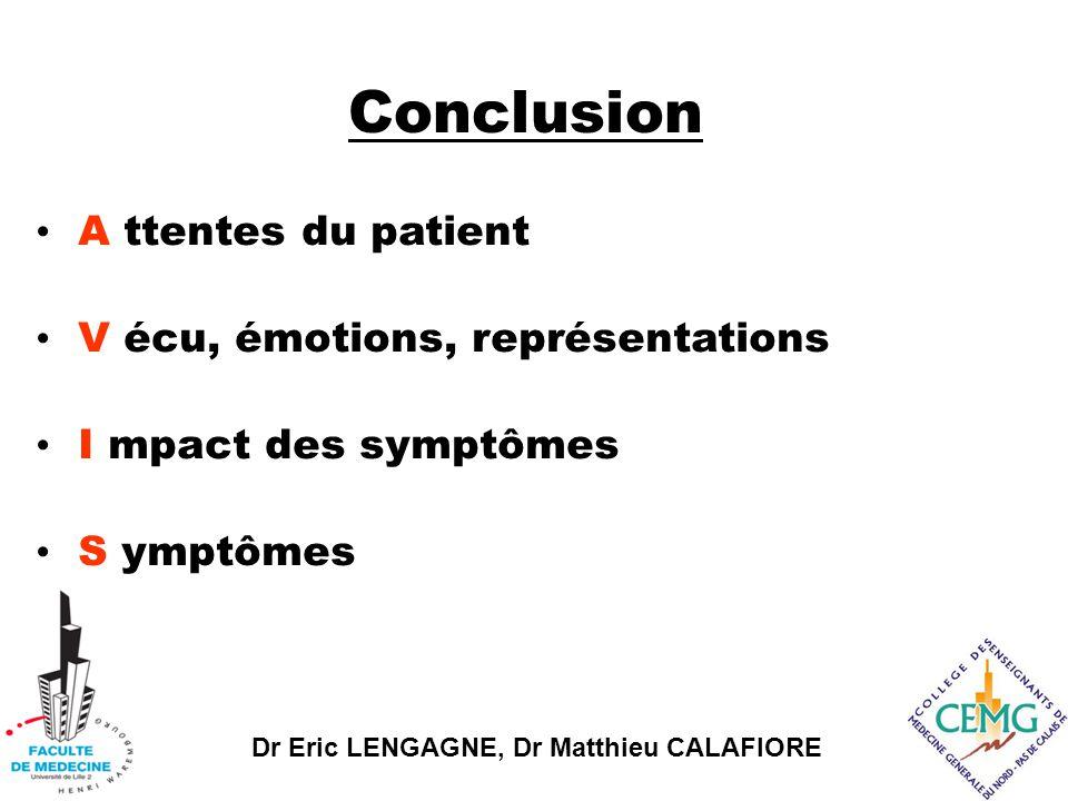 Conclusion A ttentes du patient V écu, émotions, représentations