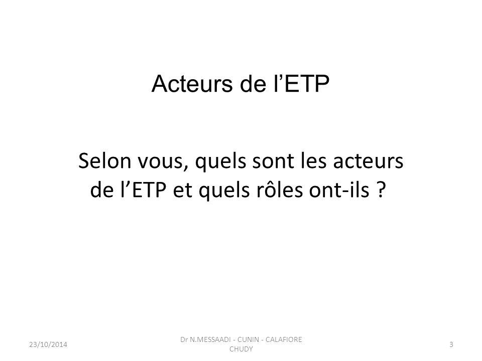 Selon vous, quels sont les acteurs de l'ETP et quels rôles ont-ils