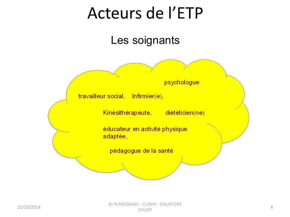 Acteurs de l'ETP Les soignants