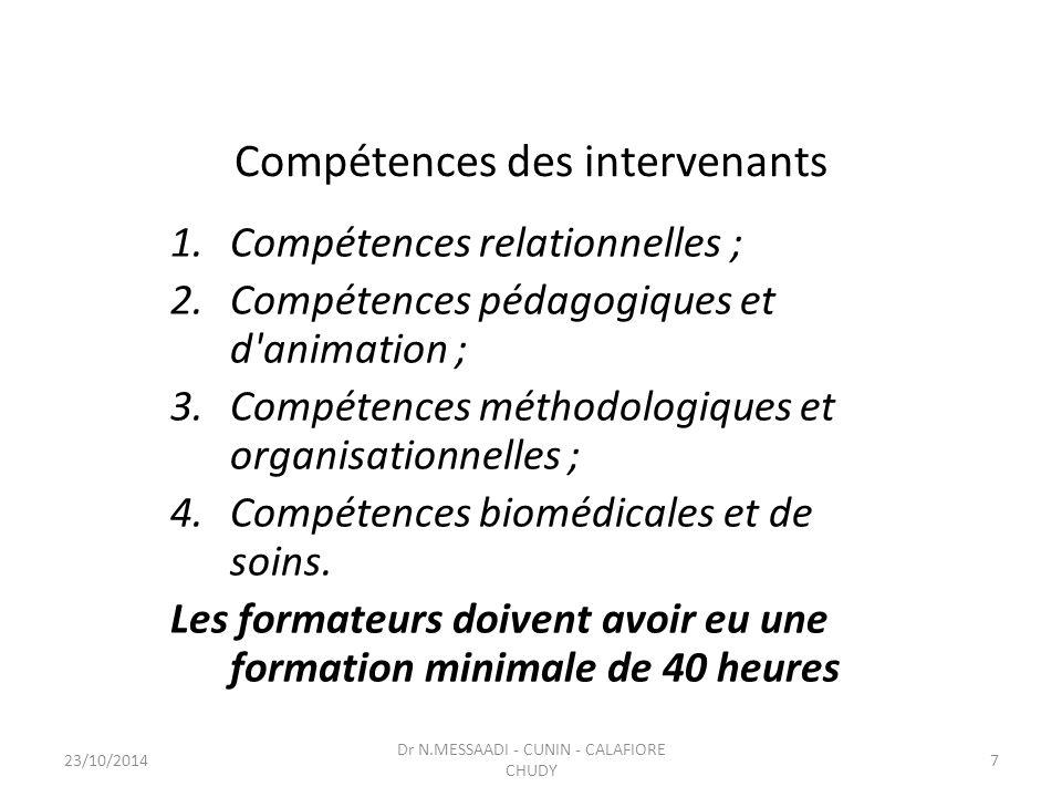 Compétences des intervenants
