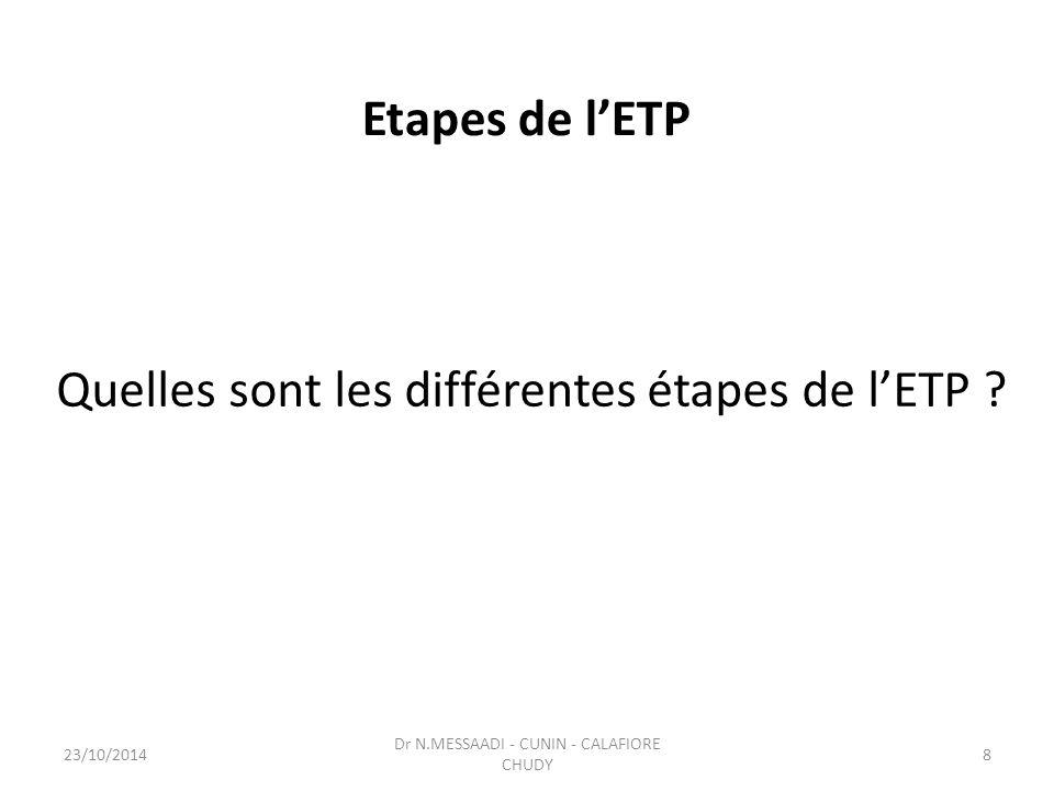 Quelles sont les différentes étapes de l'ETP