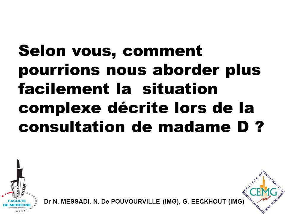 Selon vous, comment pourrions nous aborder plus facilement la situation complexe décrite lors de la consultation de madame D