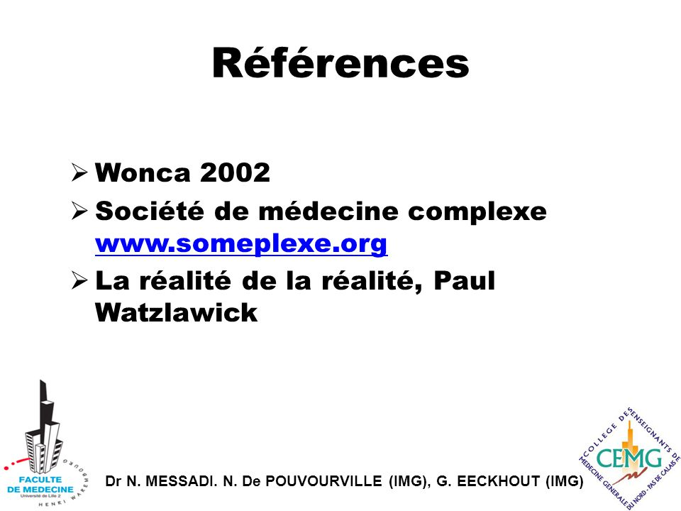 Références Wonca 2002 Société de médecine complexe www.someplexe.org