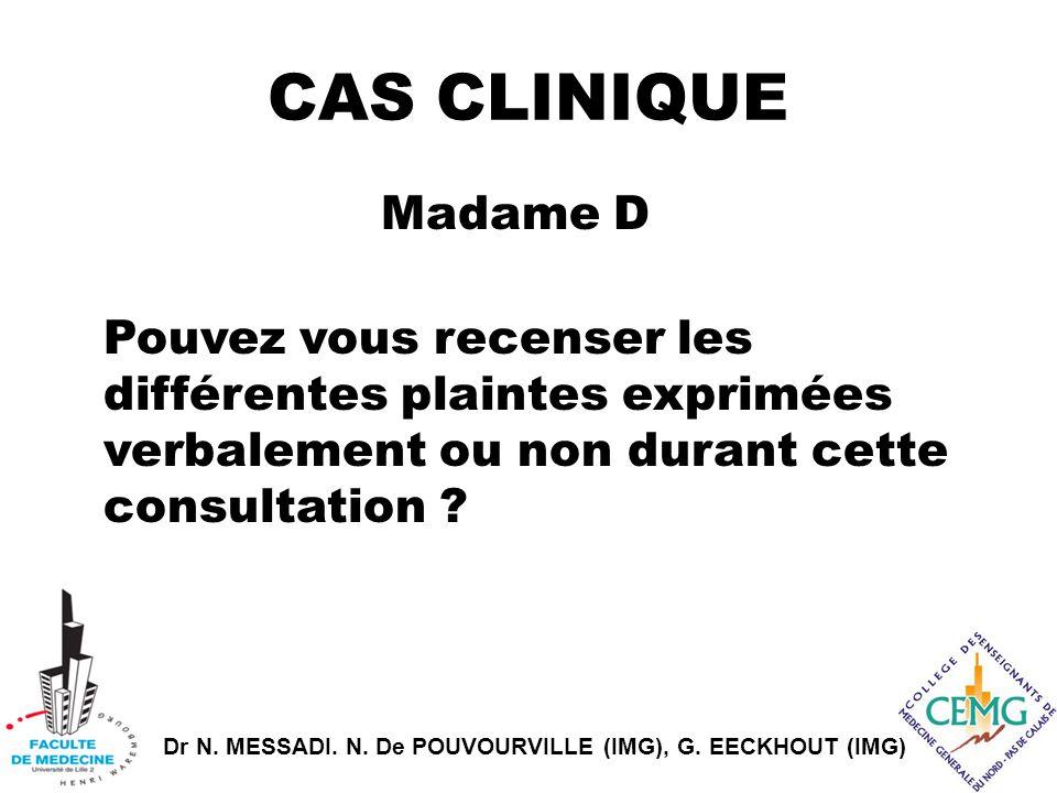CAS CLINIQUE Madame D Pouvez vous recenser les différentes plaintes exprimées verbalement ou non durant cette consultation .