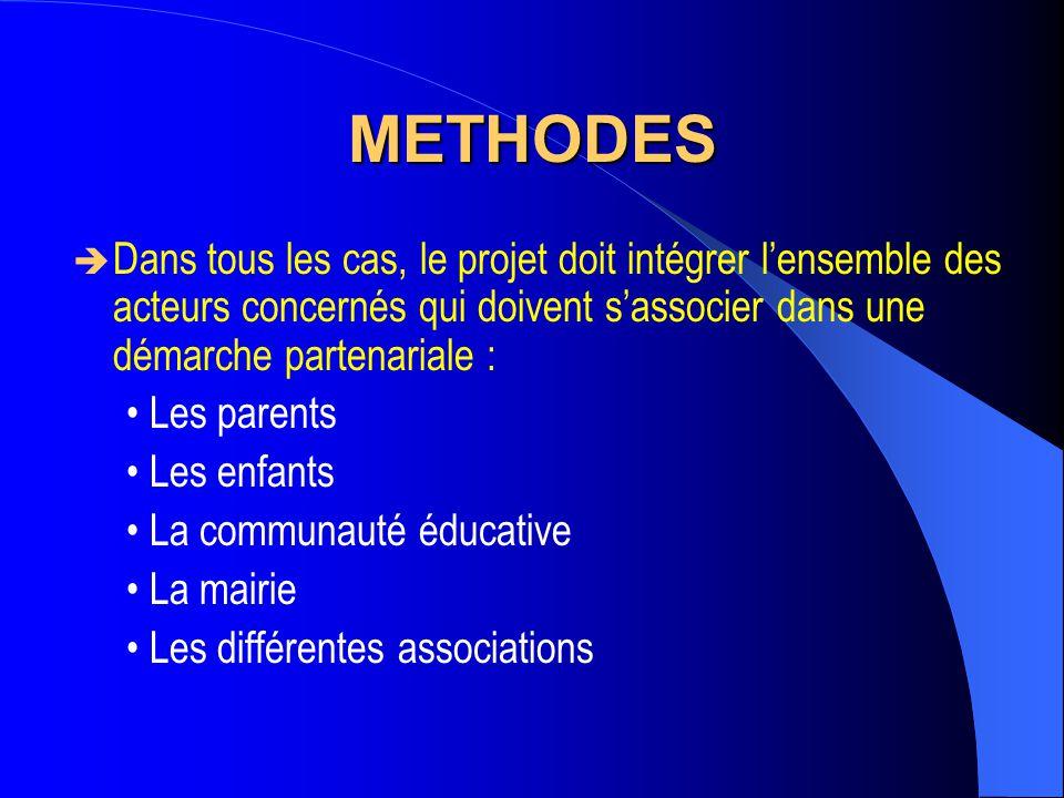 METHODES Dans tous les cas, le projet doit intégrer l'ensemble des acteurs concernés qui doivent s'associer dans une démarche partenariale :
