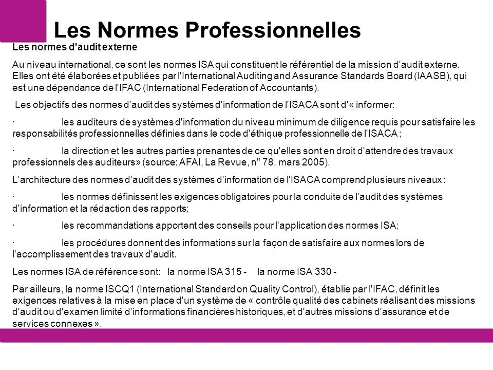 Les normes et les r f rentiels ppt video online t l charger - Classement cabinet de conseil en systeme d information ...
