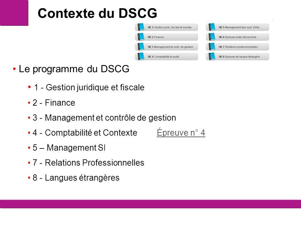 Contexte du DSCG Le programme du DSCG 1 - Gestion juridique et fiscale