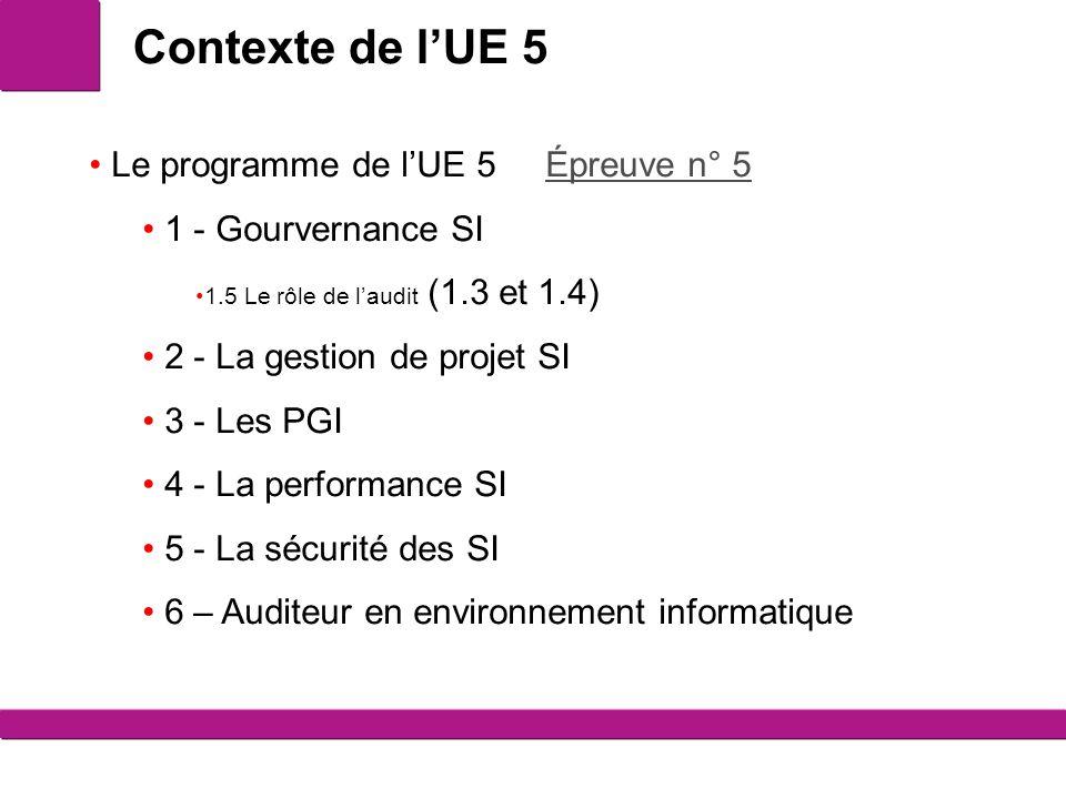 Contexte de l'UE 5 Le programme de l'UE 5 Épreuve n° 5