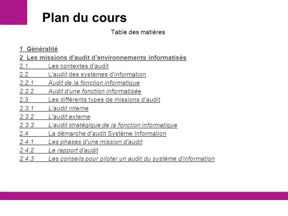 Plan du cours Table des matières 1 Généralité