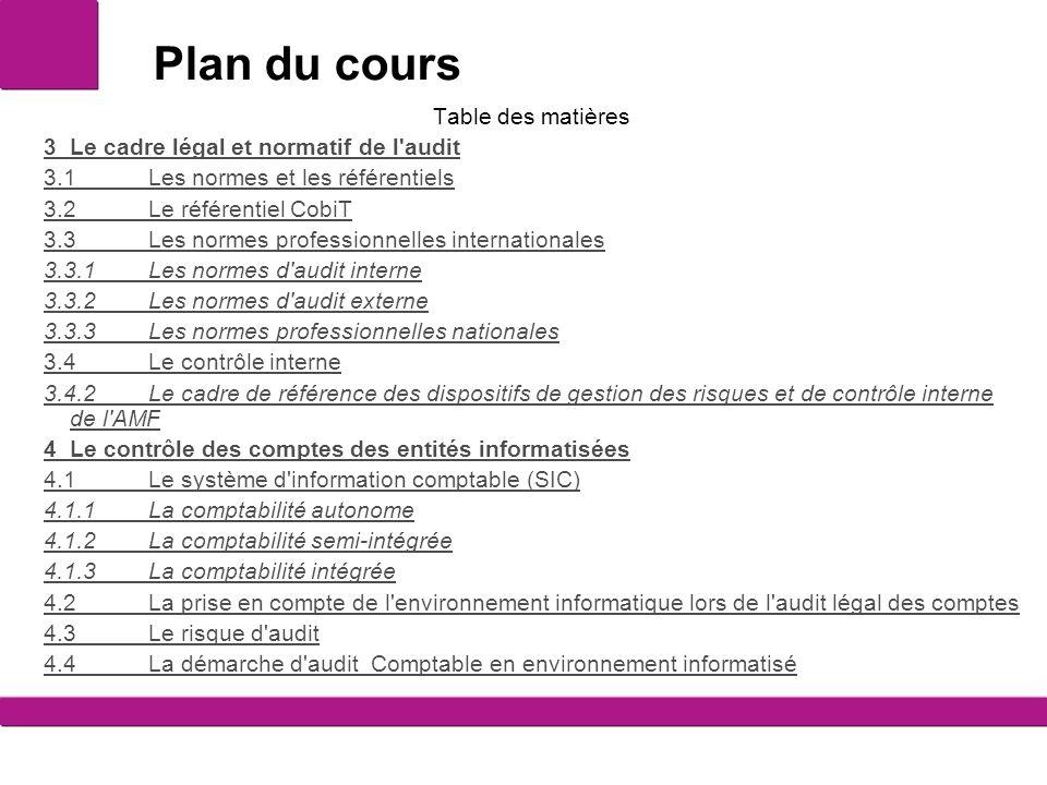 Plan du cours Table des matières