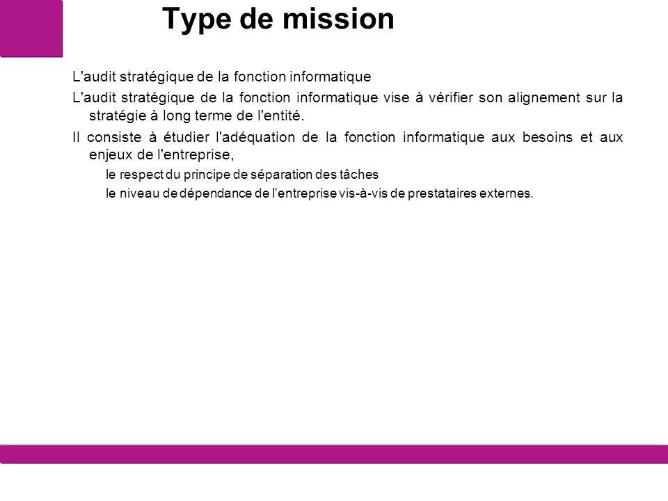 Type de mission L audit stratégique de la fonction informatique