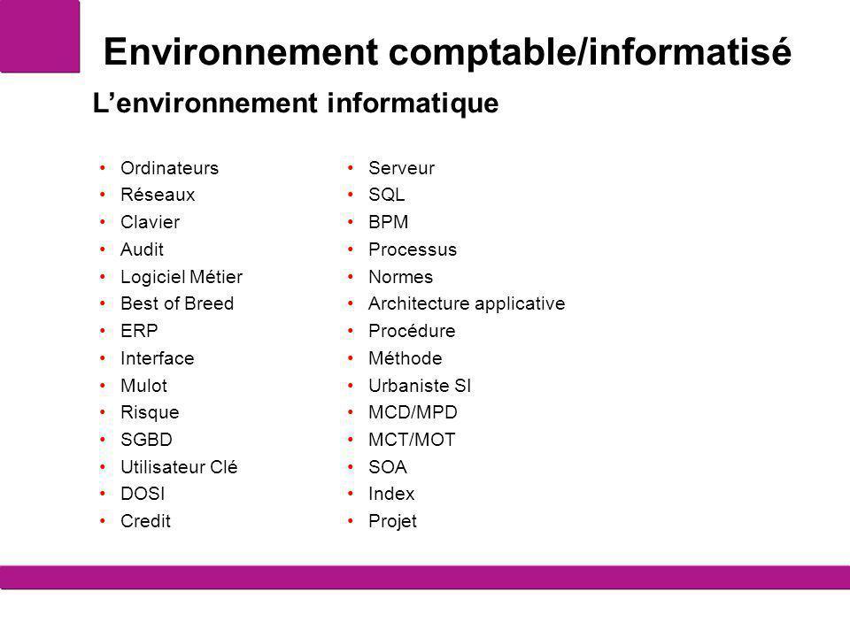 Environnement comptable/informatisé