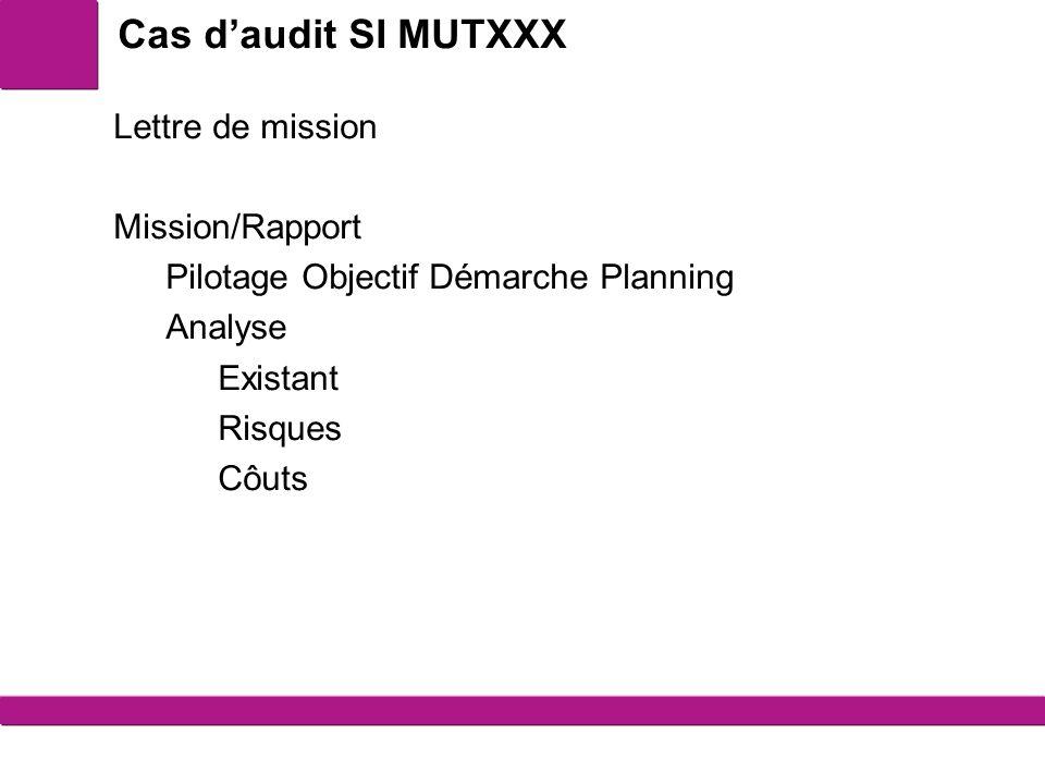 Cas d'audit SI MUTXXX Lettre de mission Mission/Rapport