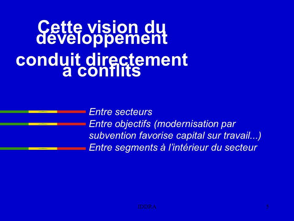 Cette vision du développement conduit directement à conflits