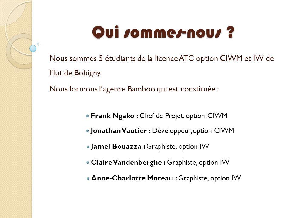 Qui sommes-nous Nous sommes 5 étudiants de la licence ATC option CIWM et IW de l'Iut de Bobigny.