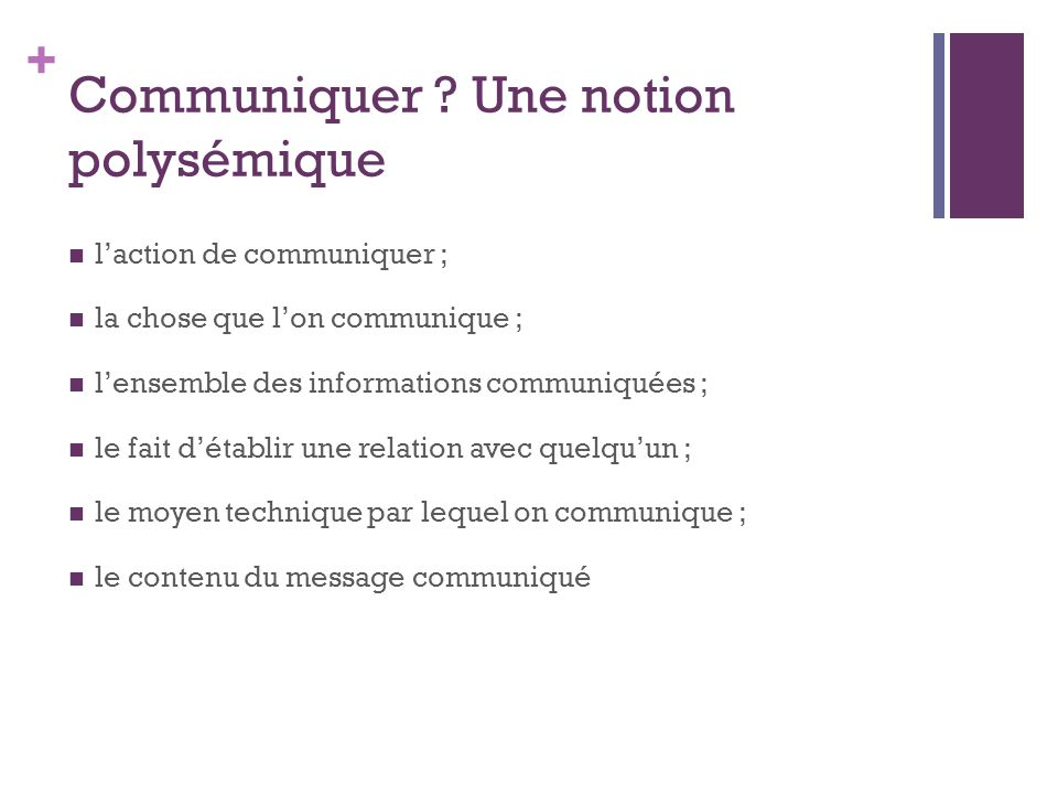Communiquer Une notion polysémique