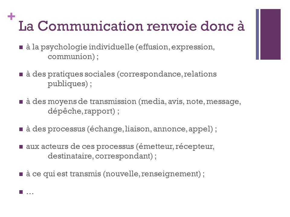 La Communication renvoie donc à
