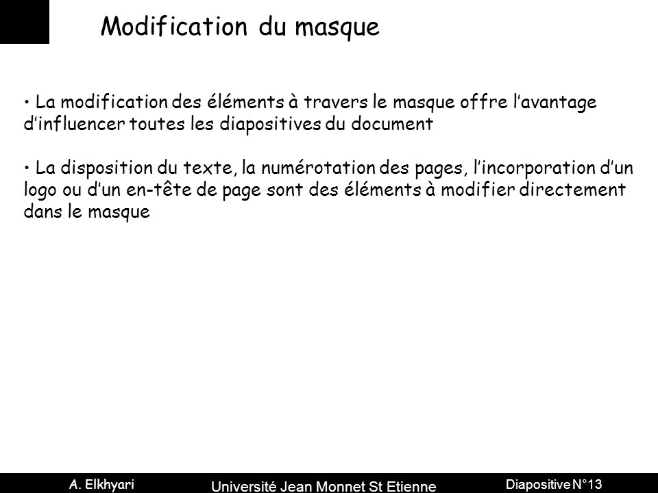 Modification du masque