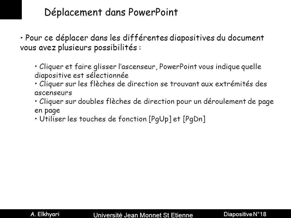 Déplacement dans PowerPoint