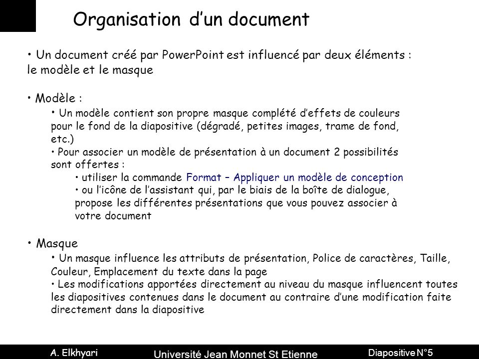 Organisation d'un document