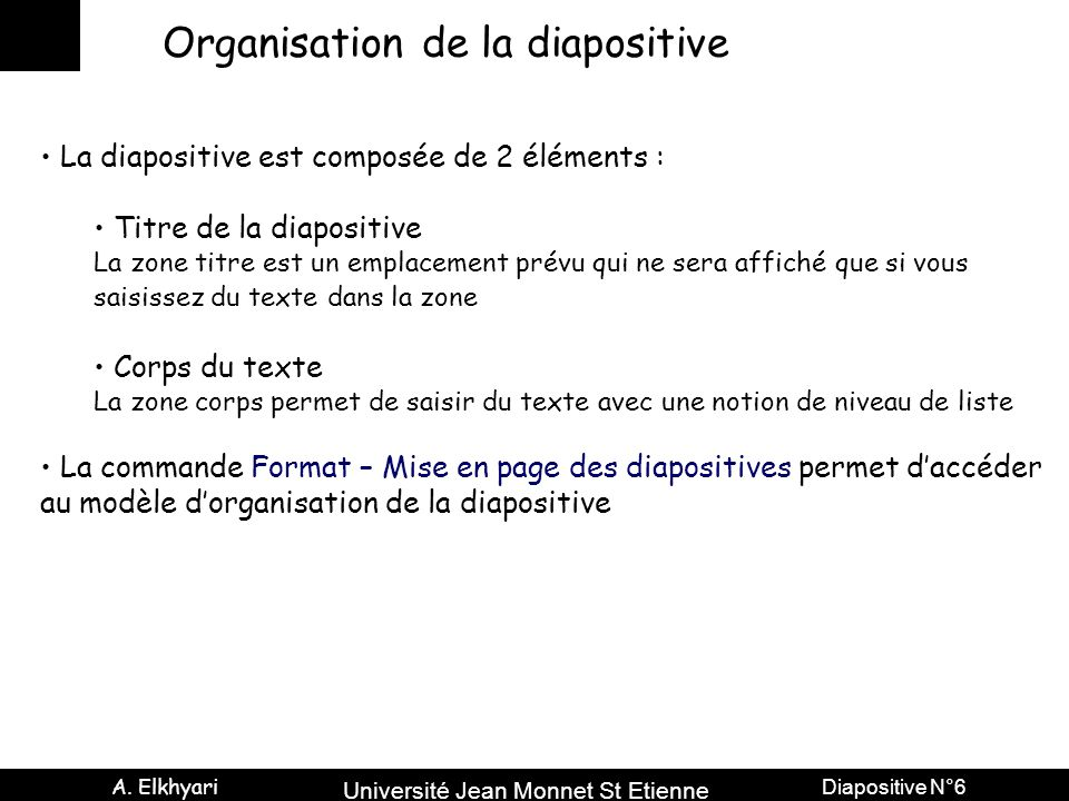 Organisation de la diapositive