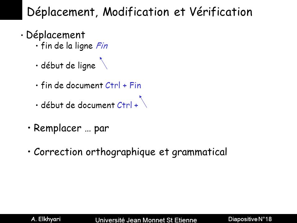 Déplacement, Modification et Vérification
