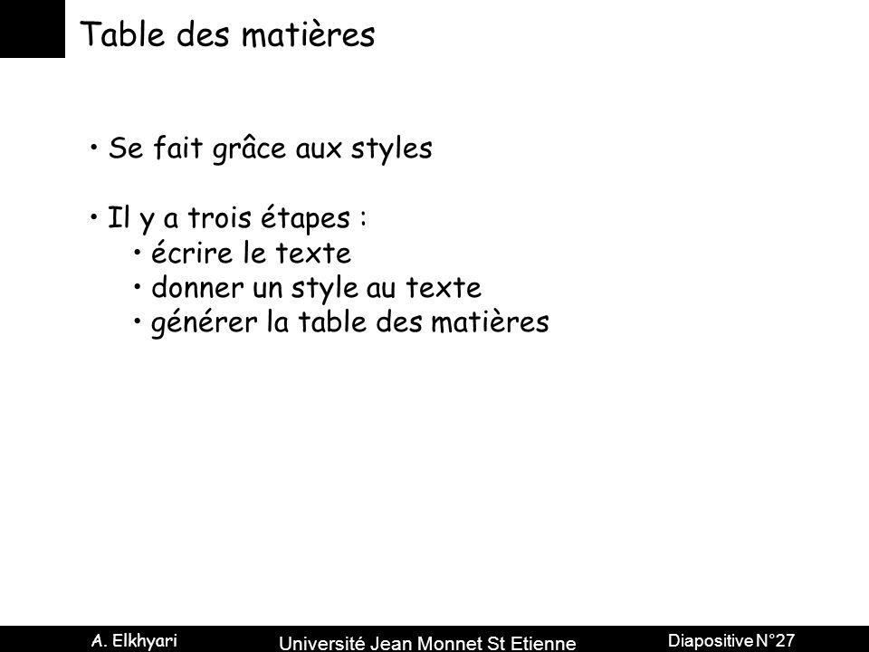 Table des matières Se fait grâce aux styles Il y a trois étapes :