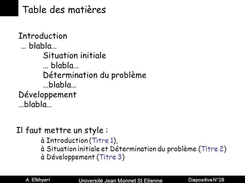 Table des matières Introduction … blabla… Situation initiale