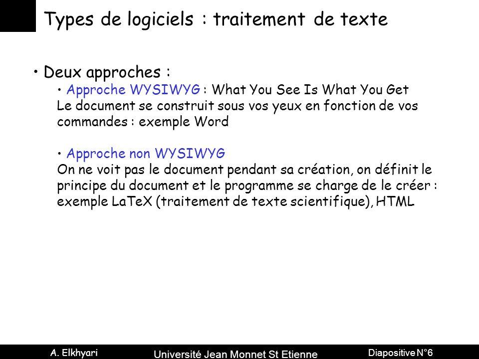 Types de logiciels : traitement de texte