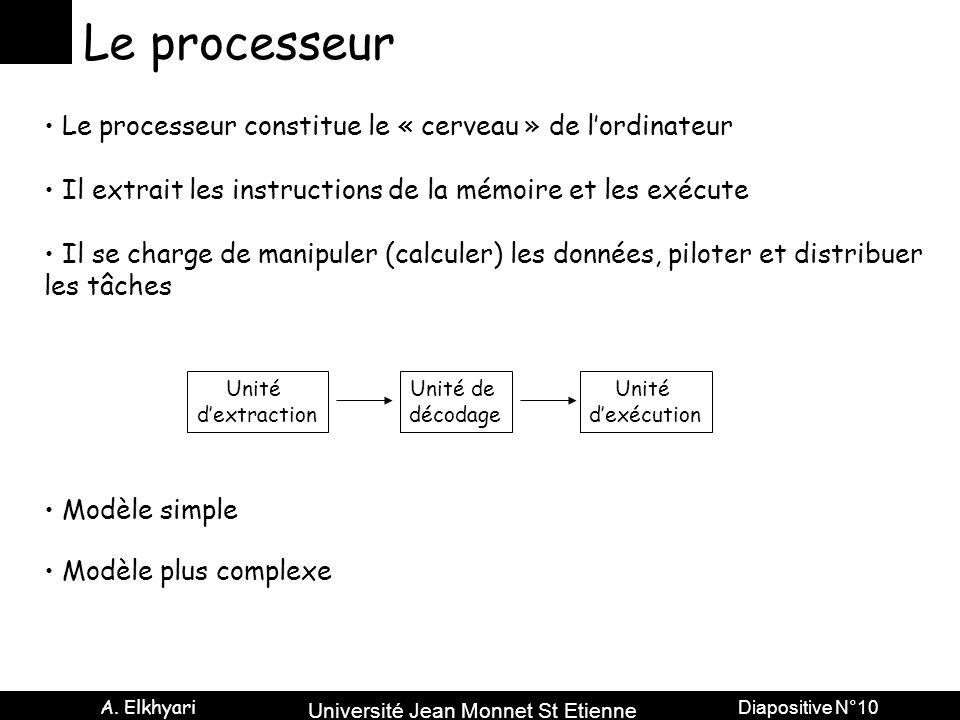 Le processeur Le processeur constitue le « cerveau » de l'ordinateur