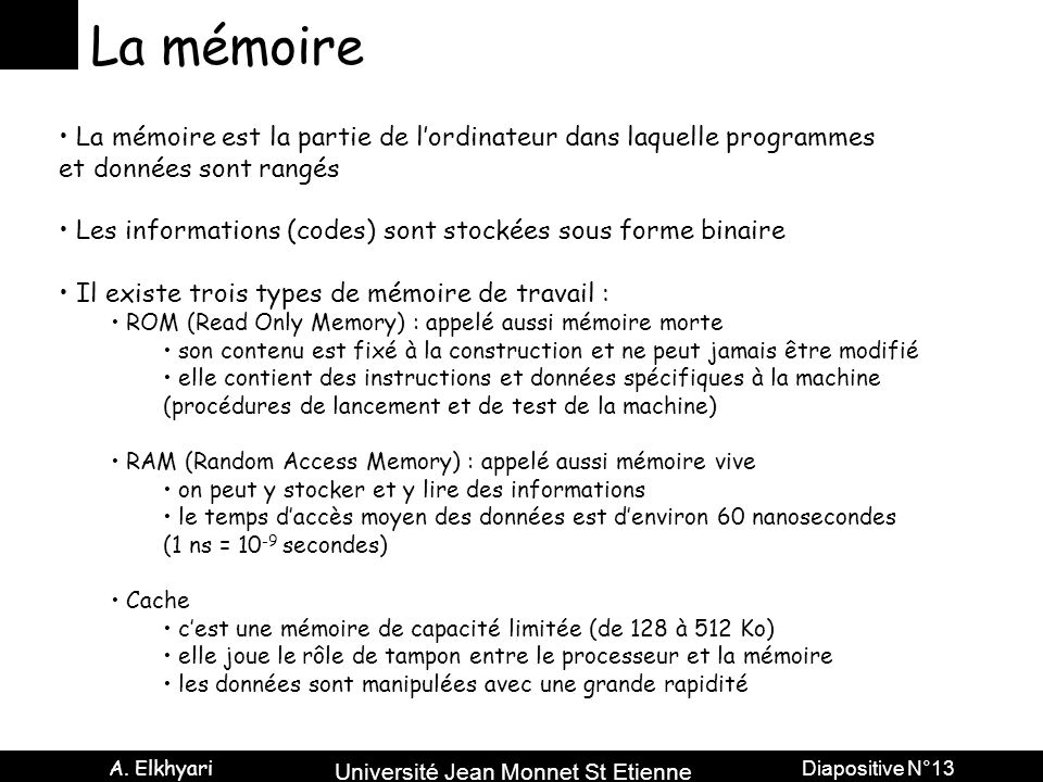 La mémoire La mémoire est la partie de l'ordinateur dans laquelle programmes. et données sont rangés.