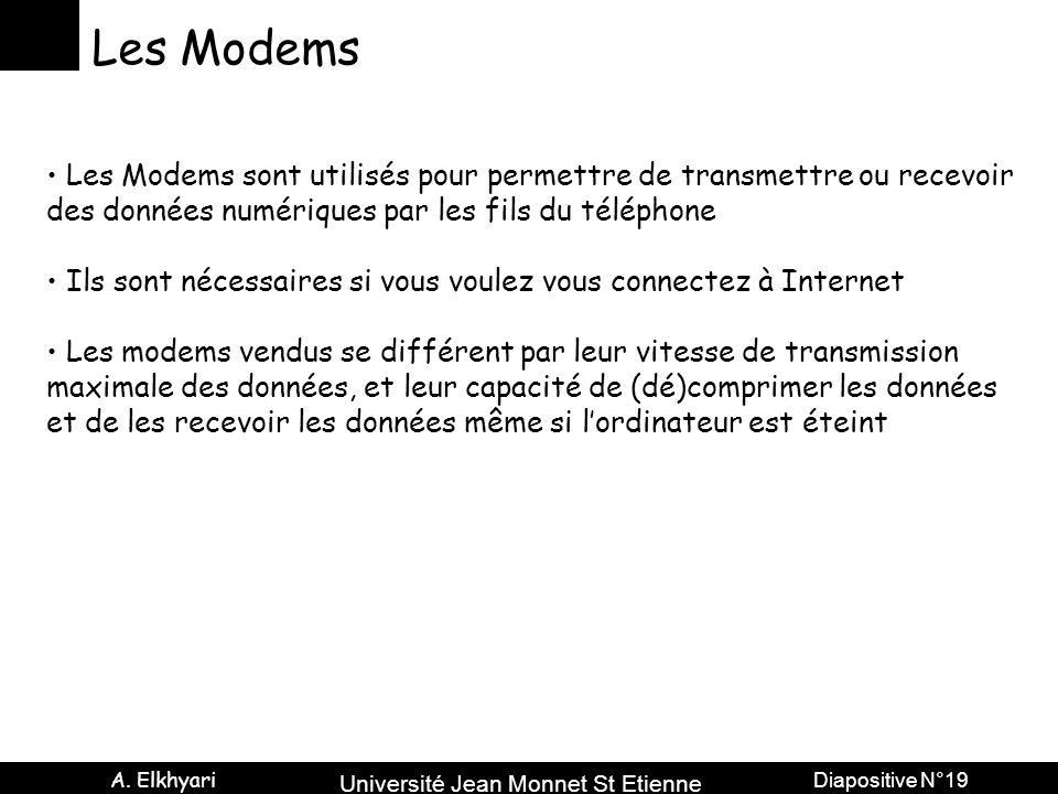 Les Modems Les Modems sont utilisés pour permettre de transmettre ou recevoir. des données numériques par les fils du téléphone.