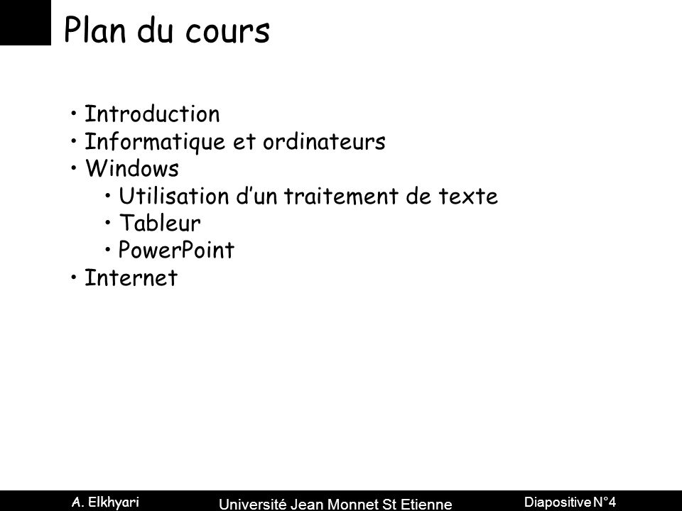 Plan du cours Introduction Informatique et ordinateurs Windows