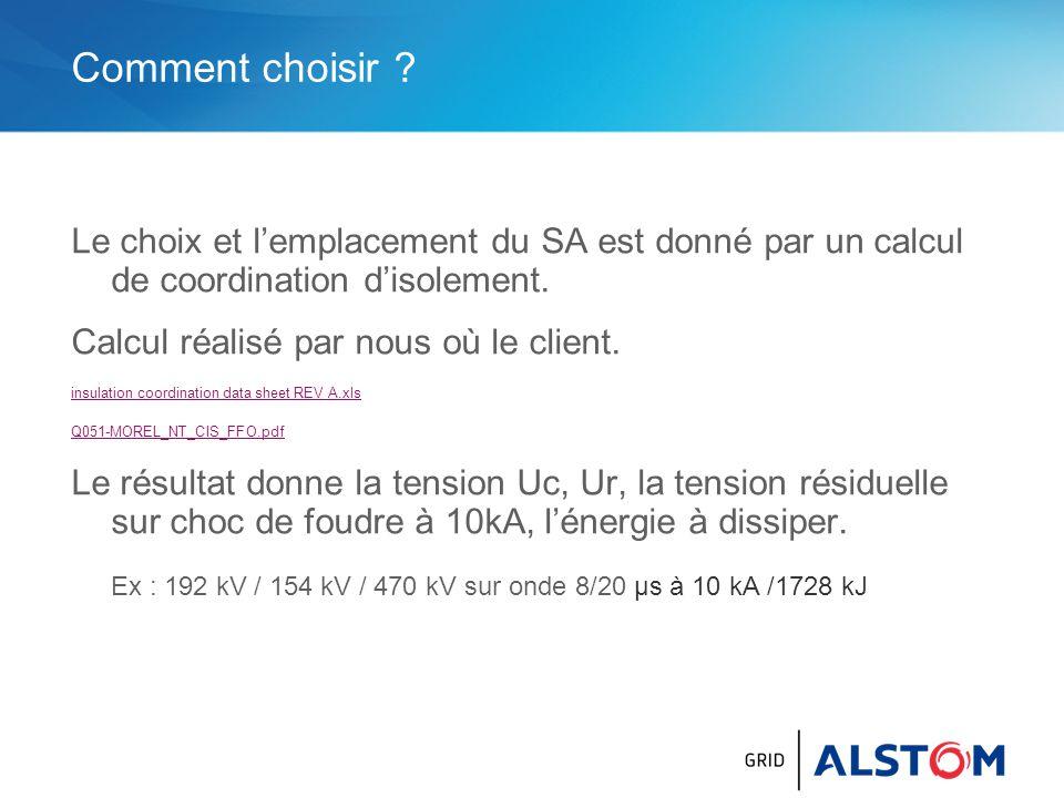 Comment choisir Le choix et l'emplacement du SA est donné par un calcul de coordination d'isolement.