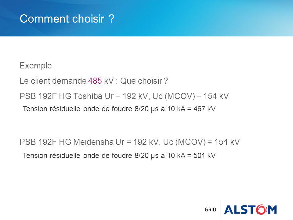 Comment choisir Exemple Le client demande 485 kV : Que choisir