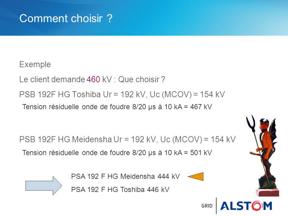 Comment choisir Exemple Le client demande 460 kV : Que choisir