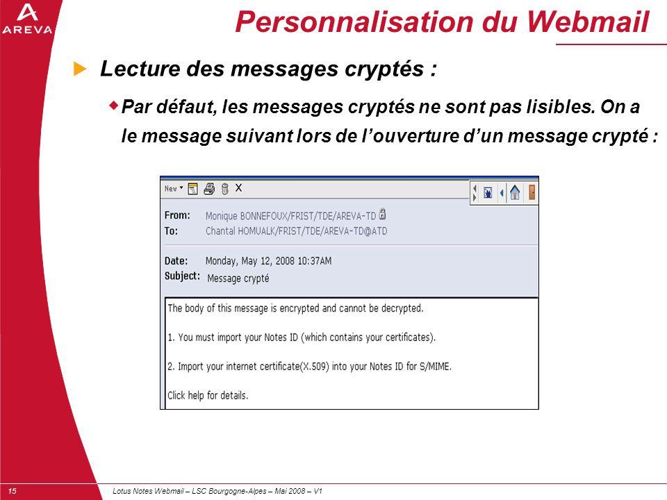 Personnalisation du Webmail
