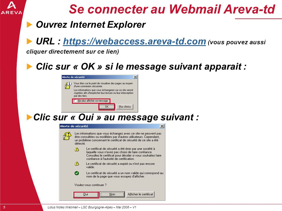 Se connecter au Webmail Areva-td