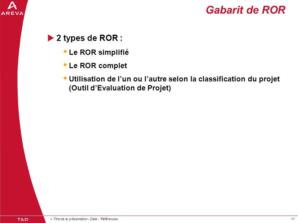 Gabarit de ROR 2 types de ROR : Le ROR simplifié Le ROR complet
