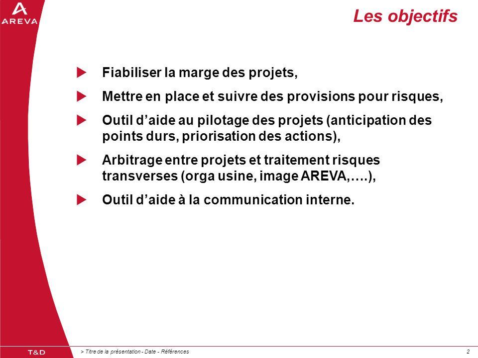 Les objectifs Fiabiliser la marge des projets,