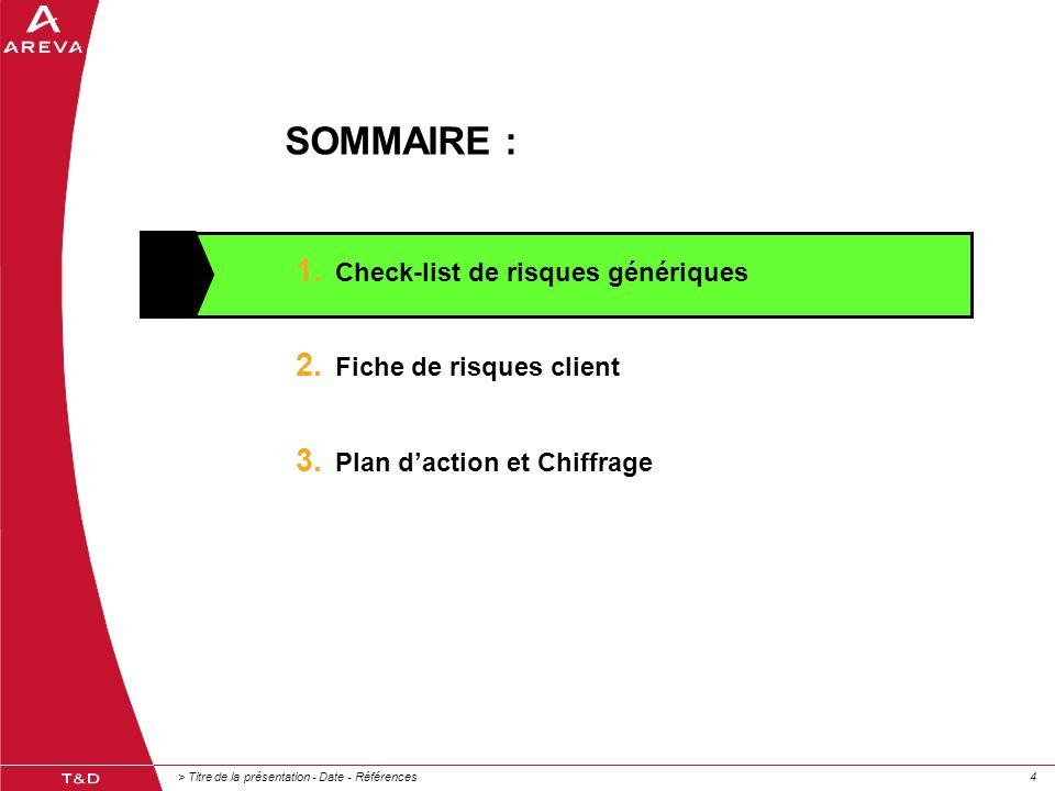 SOMMAIRE : Check-list de risques génériques Fiche de risques client