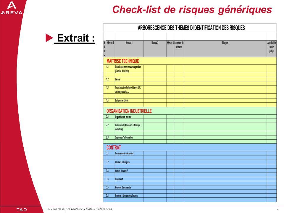 Check-list de risques génériques