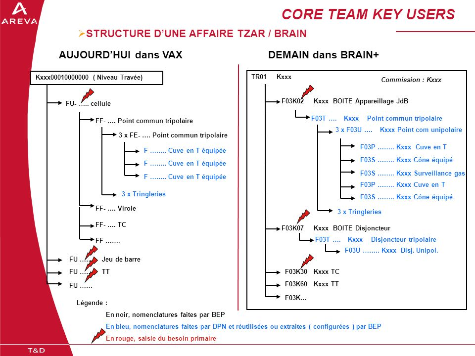 CORE TEAM KEY USERS STRUCTURE D'UNE AFFAIRE TZAR / BRAIN