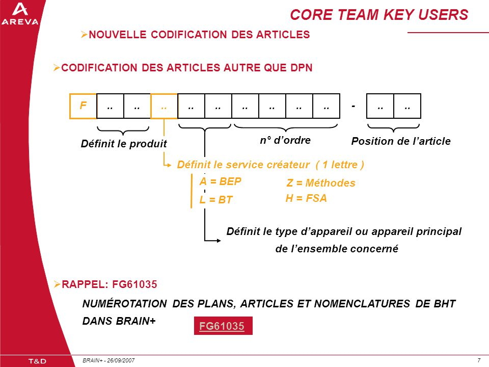 CORE TEAM KEY USERS NOUVELLE CODIFICATION DES ARTICLES
