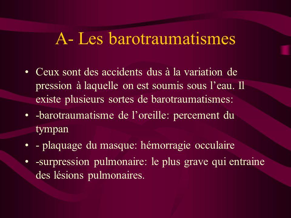 A- Les barotraumatismes