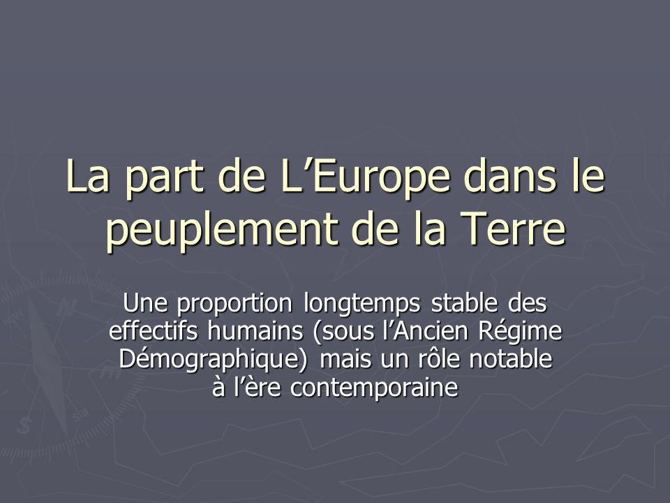 La part de L'Europe dans le peuplement de la Terre